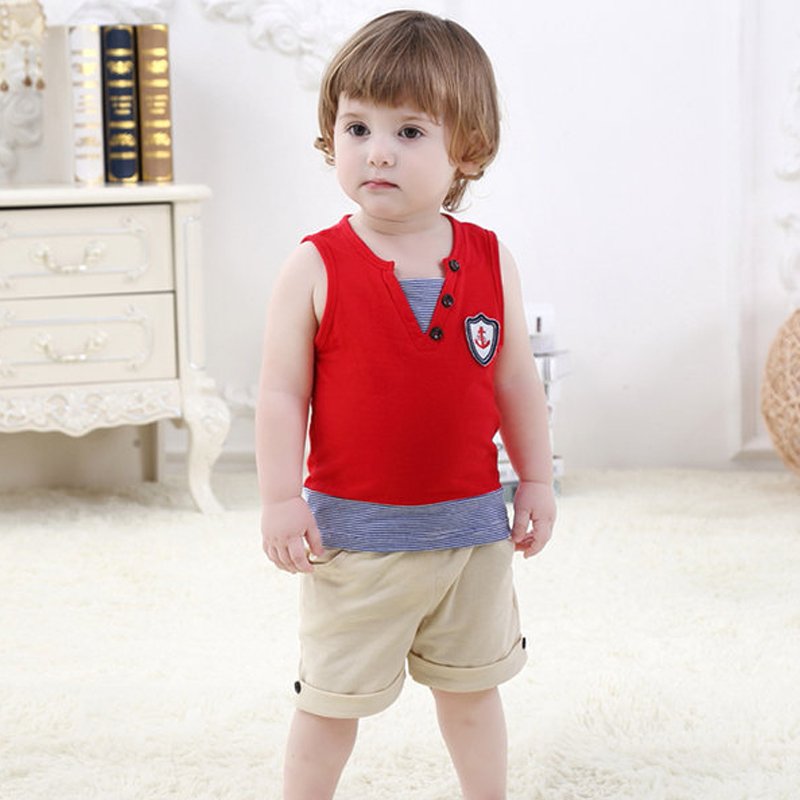 New summer baby boys clothing sets,kids sleeveless tops + pants clothes,6-32 month children casual wear,children&39;s clothing