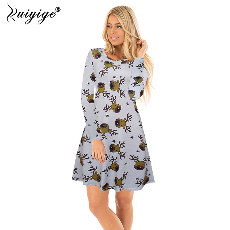 Ruiyige 2017 Autumn And Winter Women Christmas Dresses Casual Deer Printing Long Sleeves Tunic Santa Party Knee-Length Vestido