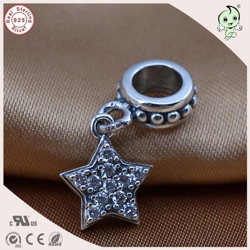 Hot Sale New Arrival Retro 925 Sterling Silver CZ Paving Star Pendant Charm Fitting European Famous Silver Snake Chain