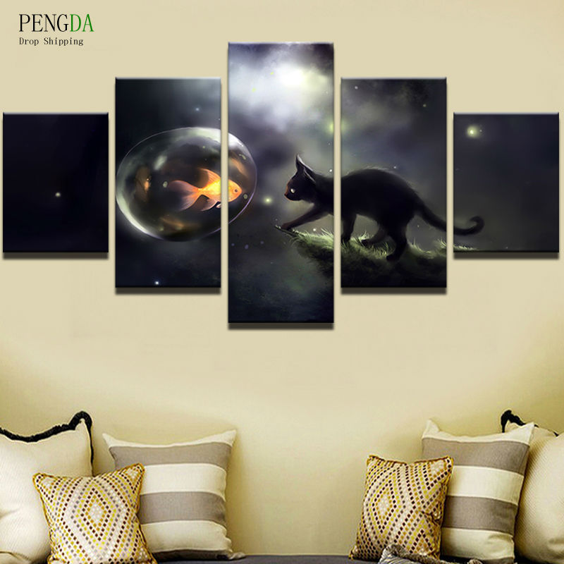 PENGDA Frames All Art Modular Pictures Landscape Canvas Painting 5 Pieces Cute Animal Poster Modern Living Room Decorative