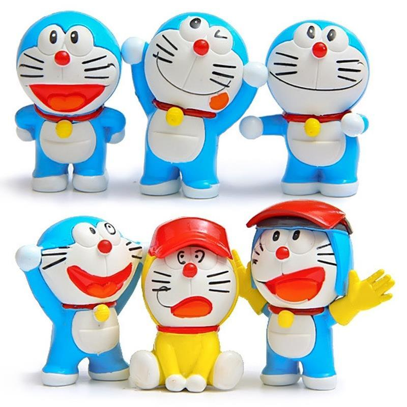 6pcs/lot Anime Cartoon Doraemon Action Figures DIY Sports Doraemon PVC Action Figure Toys Collectible Model Toy for Home Decor