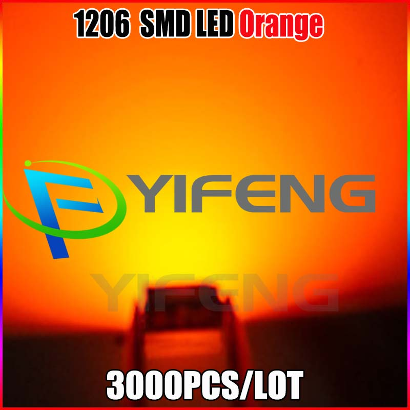 3000 adet smd 1206 orange led 1206 smd led orange süper parlak led diyot işık 605-610nm 100-120mcd 2.0-2.2 v