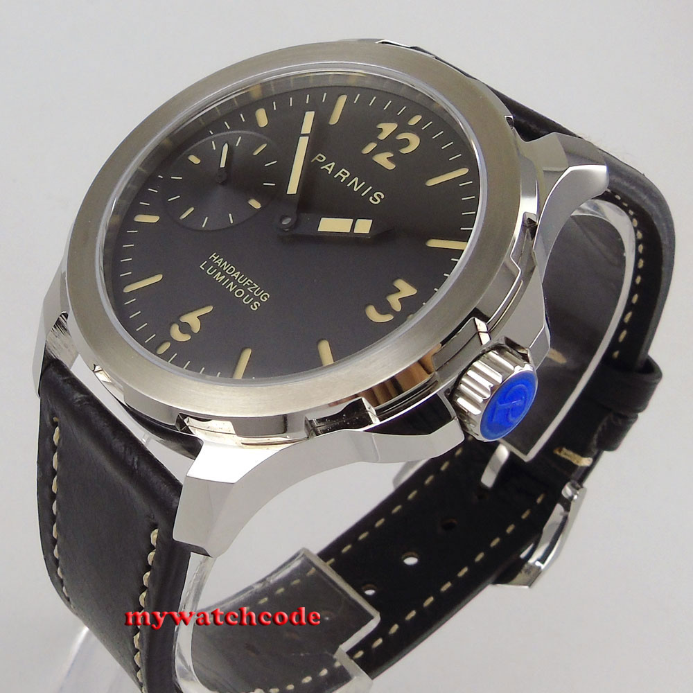 44mm parnis siyah kadran turuncu mark Safir cam 6497 el Sarma mens watch