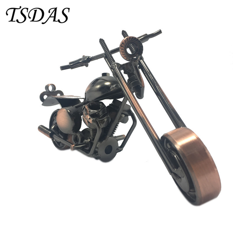 Hot 1Pc Children Classic Model Toys Retro Vintage Motorcycle Model Metal Craft Decoration New Year Gifts 2017