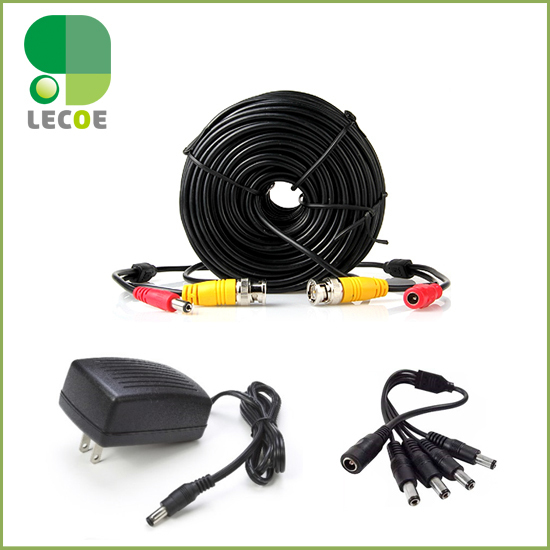 20m/65ft CCTV BNC Cable with DC plug Power extension cable+1 to 4 way Power splitter +12V 2A Power Supply for CCTV Camera