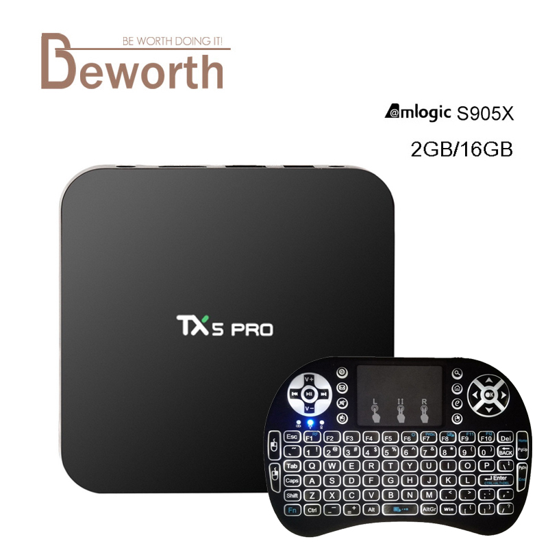 TX5 Pro Amlogic S905X Android 6.0 TV Box 2G/16G KODI 16.1 2.4/5.8G Wifi BT4.0 H.265 4 K Akıllı IPTV Avrupa Media Player PK X96 TX3