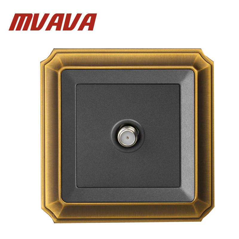 MVAVA Electric SATV Socket Wall Satellite Television Socket Outlet Luxury Decorative Bronzed Panel SocketMount Universal Cable